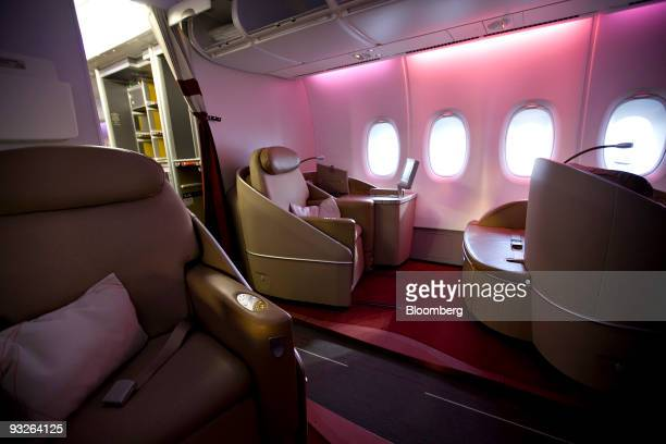 Seats in the first class cabin are pictured during a tour of an Air France Airbus A380 at John F Kennedy International Airport in New York US on...