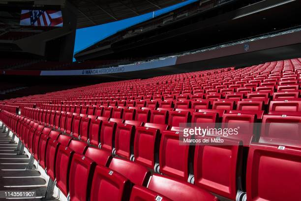 Seats in Wanda Metropolitano stadium during an open doors media day ahead of the 2019 UEFA Champions League Final. The final match will be played at...