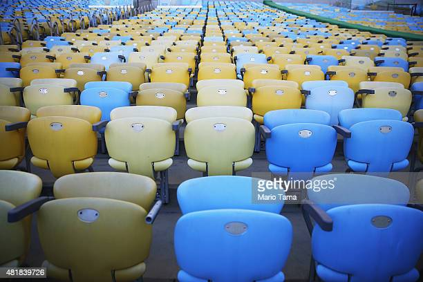 Seats line Maracana stadium on July 24 2015 in Rio de Janeiro Brazil Maracana will be the site of the opening ceremonies of the Rio 2016 Olympic...