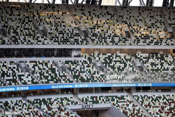 Seats of the National Stadium, venue for the upcoming Tokyo 2020 Olympic Games, are seen during a media tour following the stadium's completion in...