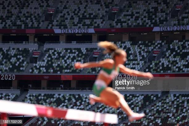Seats remain empty as Michelle Finn of Team Ireland competes in round one of the Women's 3000m Steeplechase heats on day nine of the Tokyo 2020...