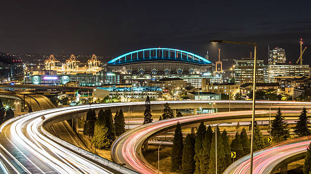 Seattle And Curved Road Light Trails Wall Art