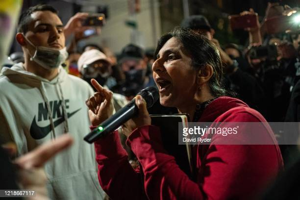 Seattle City Council member Kshama Sawant a critic of Mayor Jenny Durkan and the Seattle Police Department speaks as demonstrators hold a rally...