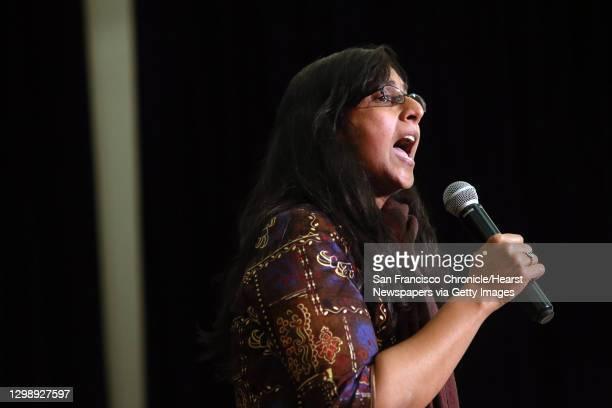 "Seattle City Council member Kshama Sawant gives a brief statement of solidarity during a """"Black Lives Matter at School"""" rally at Washington Hall,..."