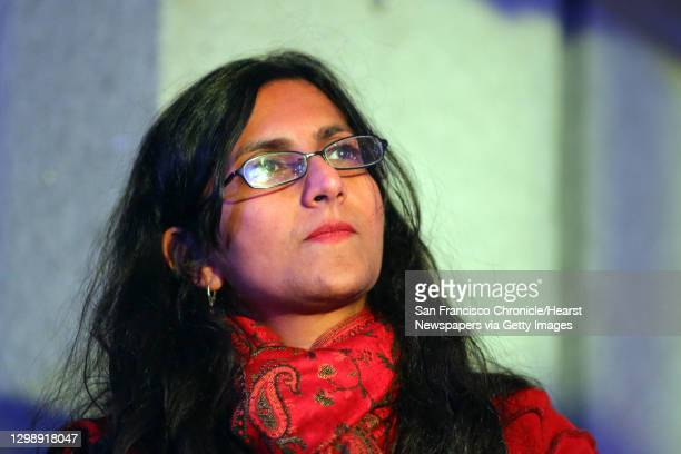 Seattle city council member Kshama Sawant listens to speakers during a rally for women's rights on International Women's Day, Wednesday, March 8 at...