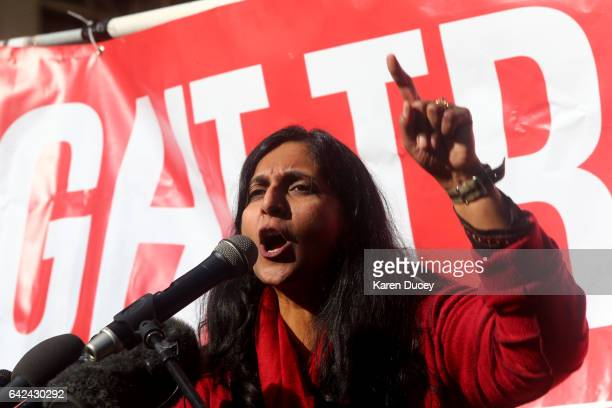 Seattle City Council member Kshama Sawant speaks at a rally held outside the courthouse where US District Court for the Western District of...