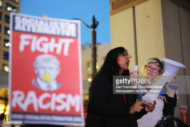 Seattle city council member Kshama Sawant speaks to hundreds of anti-Donald Trump protestors at a rally in Westlake Park, Wednesday evening, Nov. 9,...