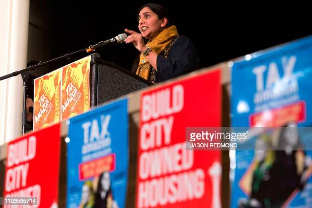 Seattle City Councilmember Kshama Sawant addresses supporters during her inauguration and Tax Amazon 2020 Kickoff event in Seattle Washington on...