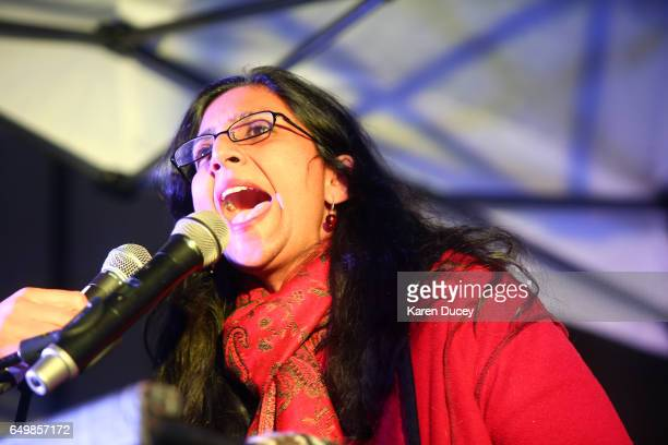 Seattle City Councilmember Kshama Sawant speaks at rally at Westlake Center on March 8 2017 in Seattle Washington Sawant hosted the rally with...