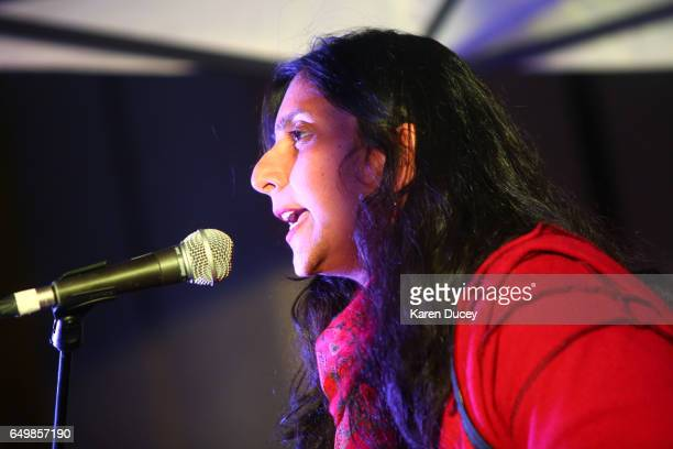 Seattle City Councilmember Kshama Sawant speaks at rally at Westlake Center on March 8, 2017 in Seattle, Washington. Sawant hosted the rally with...