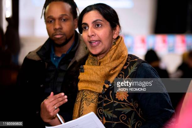 Seattle City Councilmember Kshama Sawant speaks to reporters before her inauguration and Tax Amazon 2020 Kickoff event in Seattle Washington on...