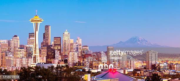 Seattle City Skyline and Mount Rainier USA