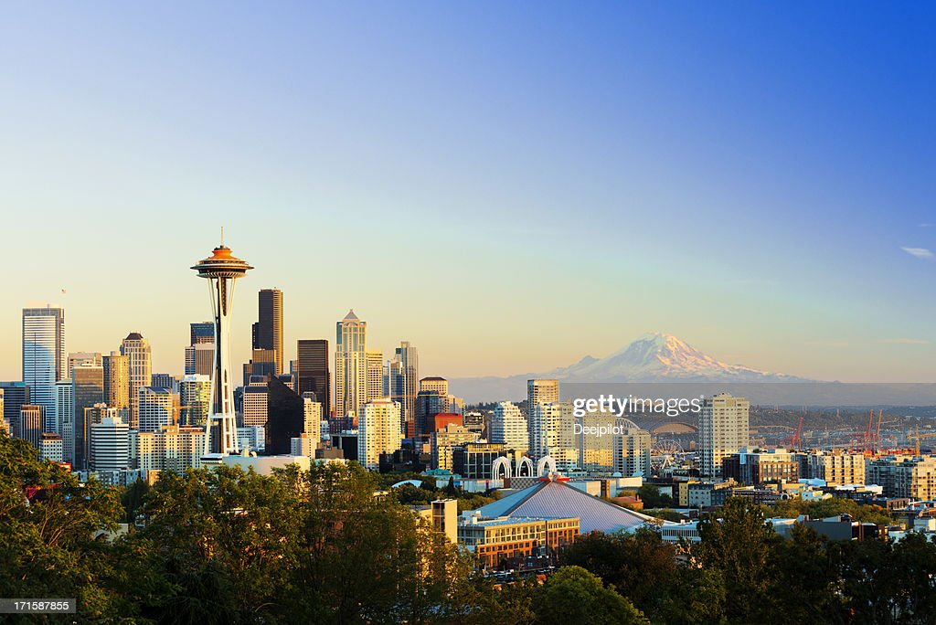 dropbox seattle office mt. Seattle City Skyline And Mount Rainier USA : Stock Photo Dropbox Office Mt A