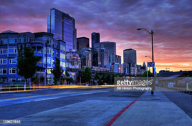 seattle city sunrise - bill hinton stock pictures, royalty-free photos & images