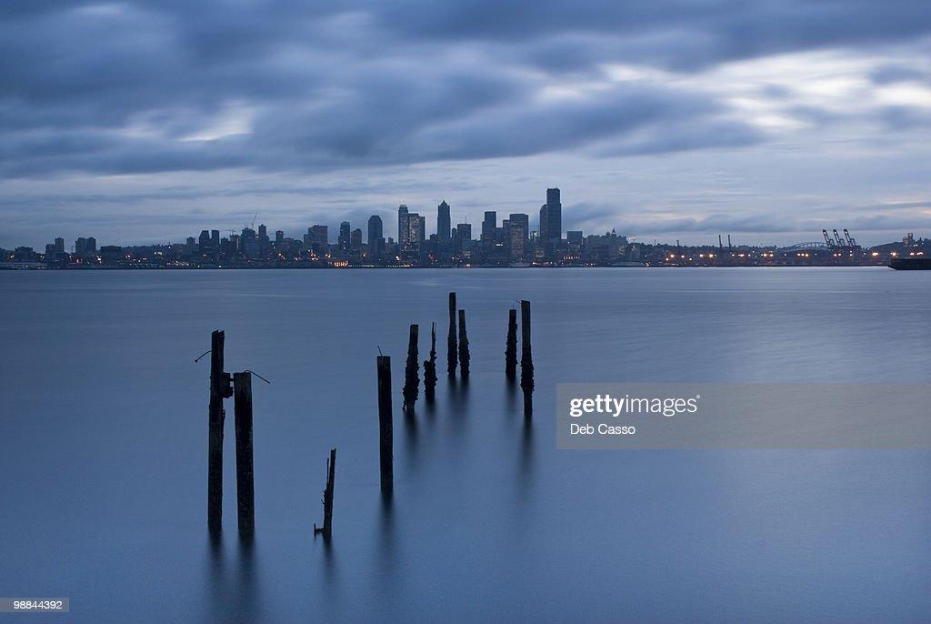 Seattle cityscape, Elliot Bay, Puget Sound, Washington : Stock Photo