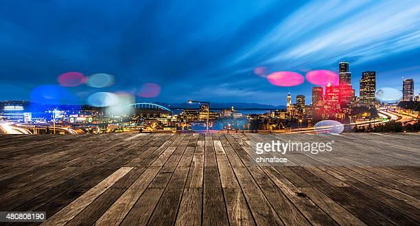 Seattle Commute. The Seattle, Washington skyline at night