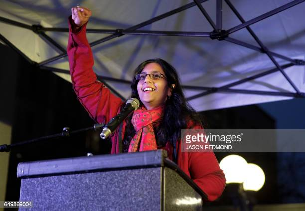 Seattle Council member Kshama Sawant speaks during an International Women's Day rally in Seattle Washington on March 8 2017 Throngs of demonstrators...