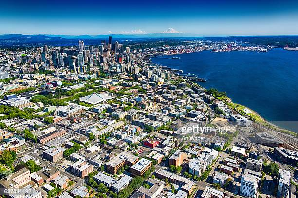 seattle downtown and metro area wide angle aerial view - washington state stock pictures, royalty-free photos & images