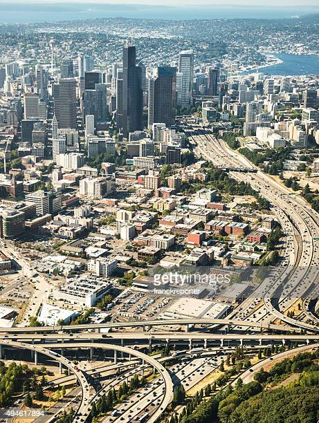 Seattle downtown area from the helicopter