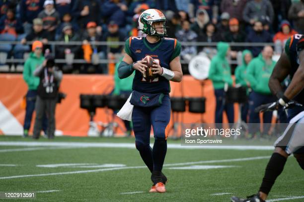 Seattle Dragons quarterback Brandon Silvers looks down field during an XFL football game between the Dallas Renegades and the Seattle Dragons at...