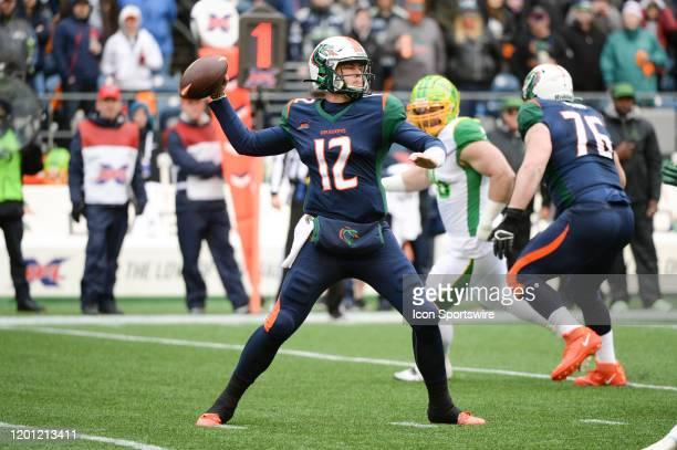 Seattle Dragons quarterback Brandon Silvers throws the ball during an XFL football game between the Tampa Bay Vipers and the Seattle Dragons on...
