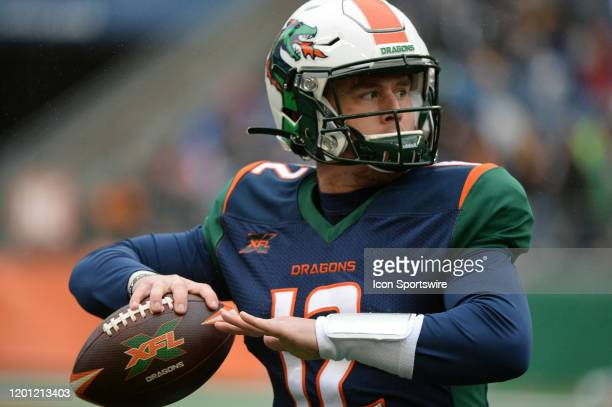 Seattle Dragons quarterback Brandon Silvers warms up before an XFL football game between the Tampa Bay Vipers and the Seattle Dragons on February 15...