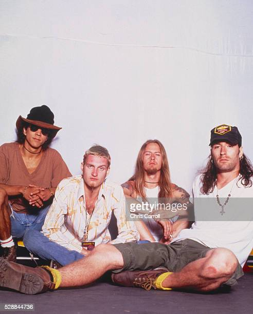 Seattle grunge band Alice in Chains from left to right Bass guitarist Mike Inez lead singer Layne Staley guitarist Jerry Cantrell and drummer Sean...