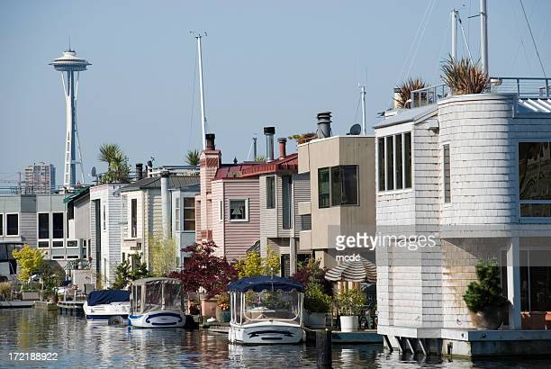 seattle houseboats - houseboat stock pictures, royalty-free photos & images