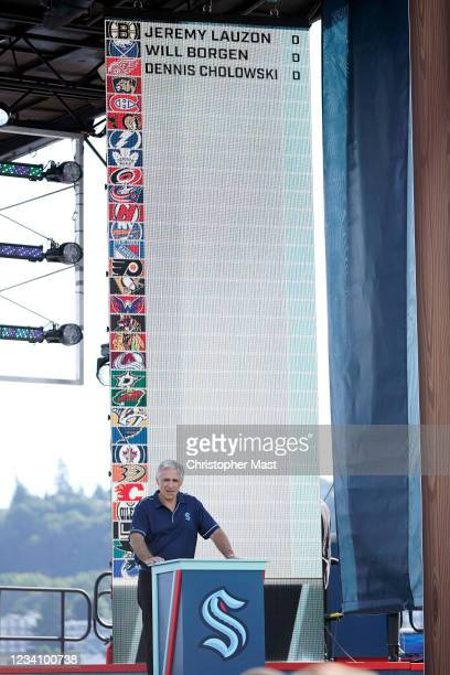 Seattle Kraken general managerRon Francis announce a draft pick during the 2021 NHL Expansion Draft at Gas Works Park on July 21, 2021 in Seattle,...