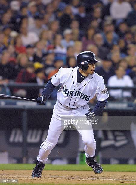 Seattle Mariner Ichiro Suzuki blasts a fourth inning single against the Oakland A's in Seattle WA 29 September 2001 The hit was his 234th of the...