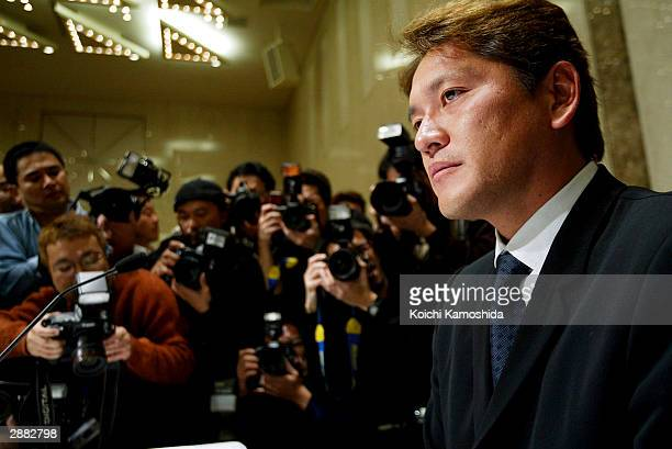 Seattle Mariners closer Kazuhiro Sasaki attends a press conference January 20 2004 in Tokyo Japan Sasaki announced that he will not return to the...