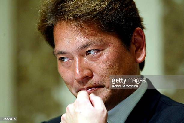 Seattle Mariners closer Kazuhiro Sasaki attends a press conference January 20 2004 in Tokyo Japan Sasaki announced that he will not return to...