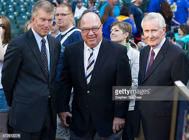 Seattle Mariners COO Kevin Mather, General Manager Jack Zduriencik and CEO Howard Lincoln are pictured before a game between Seattle Mariners and...