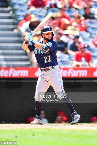 Seattle Mariners designated hitter Luis Torrens at bat during a MLB game between the Seattle Mariners and the Los Angeles Angels of Anaheim on July...