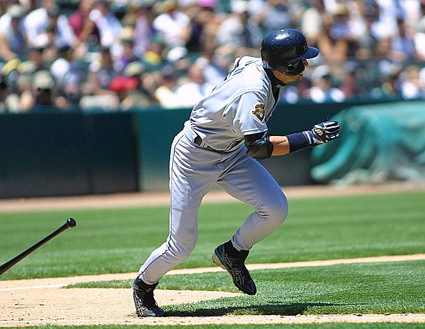 Seattle Mariners' Ichiro Suzuki hits a single duri Pictures | Getty