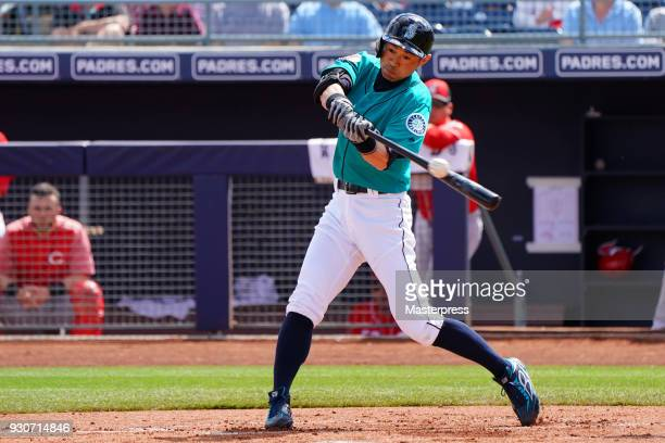 Seattle Mariners new signing Ichiro Suzuki bats during a spring training game against Cincinnati Reds on March 11 2018 in Peoria Arizona