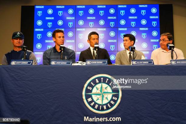 Seattle Mariners new signing Ichiro Suzuki speaks during a press conference on March 7 2018 in Peoria Arizona