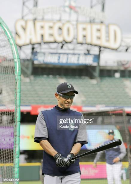 Seattle Mariners outfielder Ichiro Suzuki is pictured during batting practice at Safeco Field in Seattle on March 28 a day before the team's...