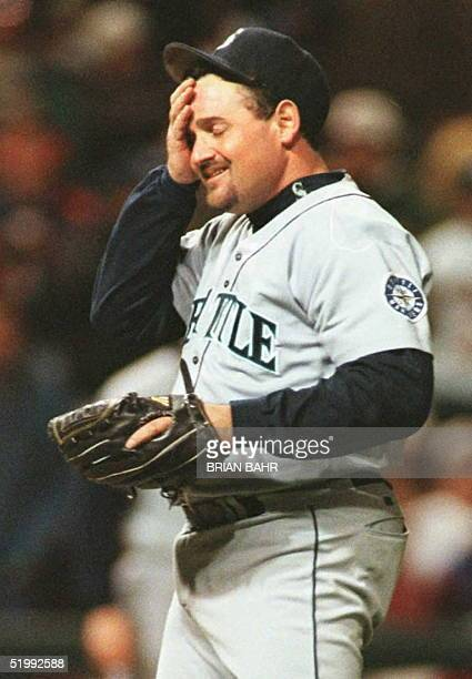 Seattle Mariners pitcher Chris Bosio reacts after giving up a double to Eddie Murray of the Cleveland Indians in the sixth inning of game five of the...