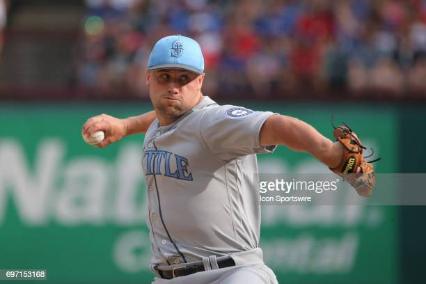 Seattle Mariners pitcher Dan Altavilla throws to the plate during the game between the Texas Rangers and the Seattle Mariners on June 17 at Globe...