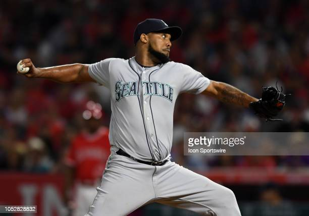 Seattle Mariners pitcher Juan Nicasio in action in the fifth inning of a game against the Los Angeles Angels of Anaheim played on July 12 2018 at...