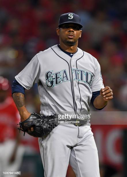 Seattle Mariners pitcher Roenis Elias in action in the seventh inning of a game against the Los Angeles Angels of Anaheim played on July 12 2018 at...