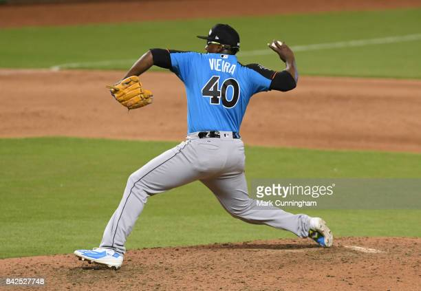 Seattle Mariners prospect Thyago Vieira of the World Team pitches during the 2017 SiriusXM AllStar Futures Game at Marlins Park on July 9 2017 in...