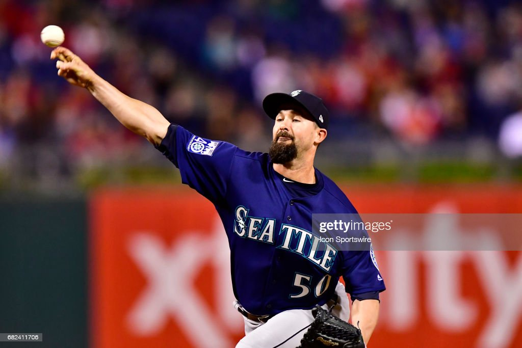 Seattle Mariners relief pitcher Nick Vincent (50) releases his pitch during the Major League Baseball game between the Seattle Mariners and the Philadelphia Phillies on May 9, 2017 at Citizens Bank Park in Philadelphia PA.