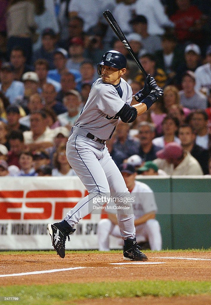 Seattle Mariners right fielder Ichiro Suzuki #51 waits on a pitch during the game against the Boston Red Sox at Fenway Park August 24, 2003 in Boston, Massachusetts.