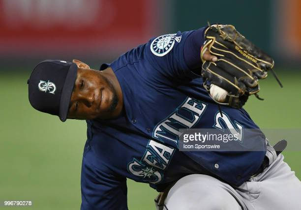 Seattle Mariners shortstop Jean Segura catches a line drive in the seventh inning of a game against the Los Angeles Angels of Anaheim played on July...