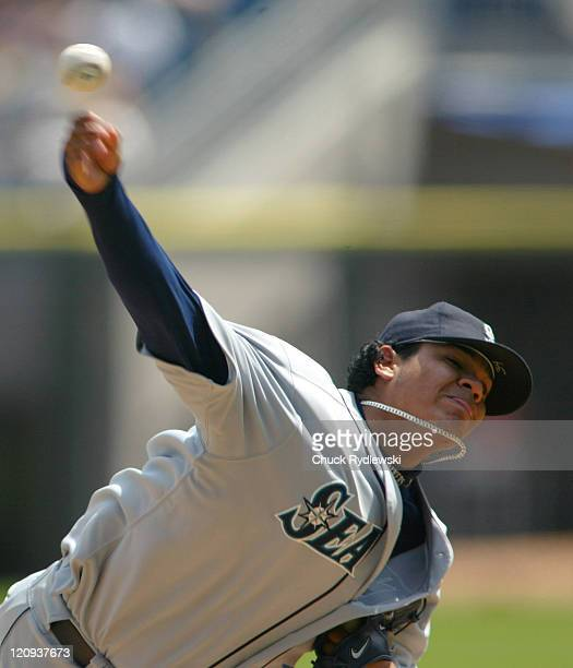 Seattle Mariners' Starter Felix Hernandez pitches during their game against the Chicago White Sox May 4 2006 at US Cellular Field in Chicago Illinois...
