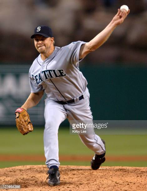 Seattle Mariners starter Jarrod Washburn pitches during 9-7 loss to the Los Angeles Angels of Anaheim at Angel Stadium in Anaheim, Calif. On...