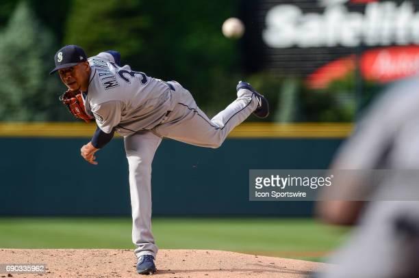 Seattle Mariners starting pitcher Ariel Miranda pitches during a regular season interleague Major League Baseball game between the Seattle Mariners...