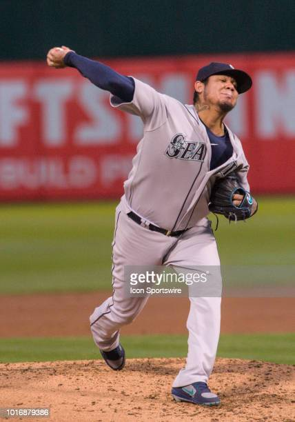 Seattle Mariners starting pitcher Felix Hernandez during the regular season game between the Oakland Athletics and the Seattle Mariners on August 14...